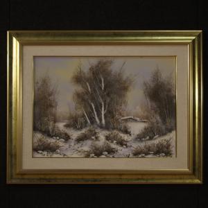 意大利绘画冬季风景