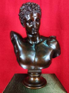 Hermann Gladenbeck (1827-1918) Bronze Bust Of Hermes H65 Cm 19th Century
