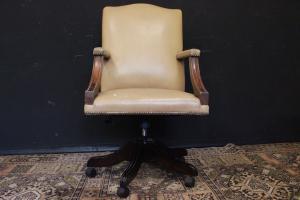 English original director swivel armchair in brown leather