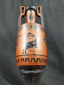 Greek Amphora Cult Of Bacchus Terracotta H 90 Cm. 20th Century