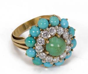 Anillo de oro de 18 k con diamantes talla brillante (aprox. 1,2 quilates) y turquesa. 1960