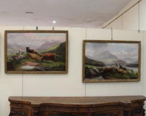 Landscapes with oxen, pair of paintings, 19th century