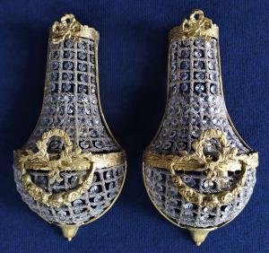 Coppia di appliques stile Impero in vetro e bronzo dorato - Francia XX sec.