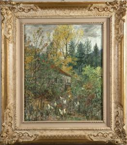 House in the woods, Oscar Saccorotti oil signed and dated