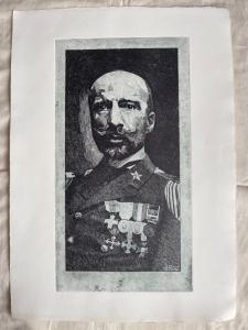 Lithographie mit Gabriele D'Annunzio, Arturo Pietra, Bologna.