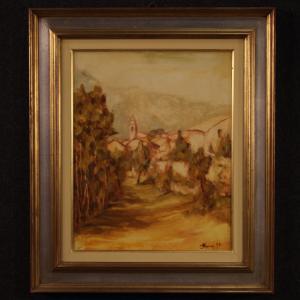 Italienische unterzeichnete Gemälde Landansicht