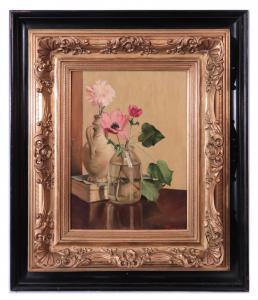 """Pintura a óleo: """"Flores"""" - assinado E. Lusini '900"""