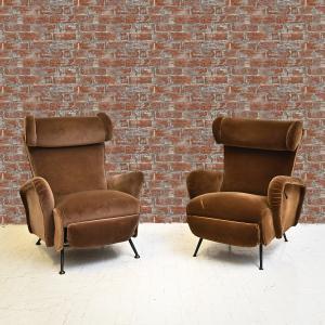 一对天鹅绒躺椅,1950 年代,一对天鹅绒躺椅