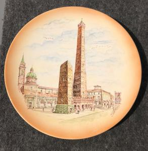 Pottery plate depicting the two towers of Bologna