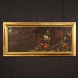 Pintura italiana firmada escena popular de Mattia Traverso