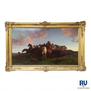"""""""Дикие лошади и волки"""" Фридрих Антон Кильп (Нассау 1822 - 1872)"""