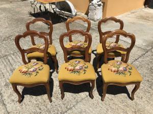 Sei bellissime sedie poltroncine d'epoca Luigi Filippo