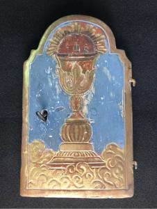 Porta da tabernacolo in legno laccato e dorato.Genova.