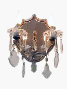 Coppia Appliques Cristallo Boemia 2 Luci 1950  Pair of 1950´s 2 light Crystal Sconces with mirror