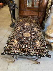Стол из мрамора и кованого железа 245x122x80h