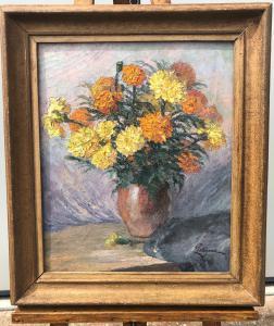 Dipinto olio su tela raffigurante natura morta con vaso di fiori.Firmato.Francia.