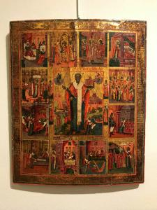 Icon depicting the scene of the life of St. Nicholas - lot 6