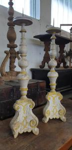 Two Tuscan Louis XIV candelabra in polychrome wood