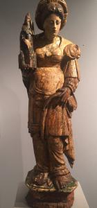 "Polychrome wooden sculpture ""Santa Barbara"" Flemish area late 16th century"