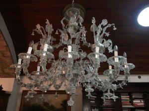 Espléndida lámpara de araña de cristal de Murano con 12 luces