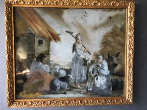 Glasmalerei, die bukolische Szene mit Figuren in der Art von Londonio Periode Louis XVI darstellt