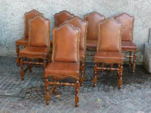 Gruppo di nove sedie rocchetto