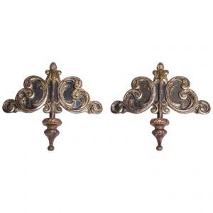 Coppia antichi importanti fregi dorati da parete con specchi
