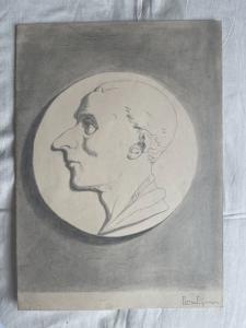 Dibujo a lápiz sobre papel con el perfil de una figura masculina, firmado por F. Pietra.