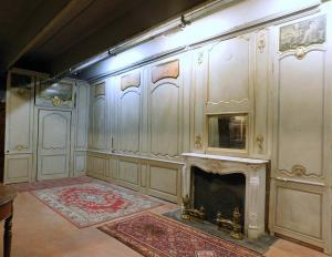 darb165 - eighteenth-century lacquered wood boiserie with paintings, mh 3.24 xl 20