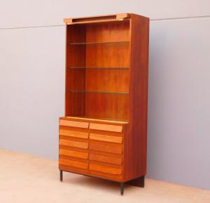 Mobile shop bookcase with lift, 10 drawers, 60s modernism!