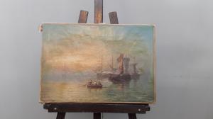 Картина маслом на холсте с изображением «военно-морской флот», возраст 700 - H 32 x W 46 см!