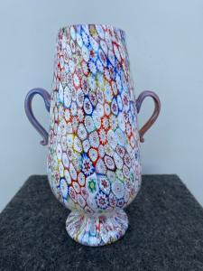Double-sided glass vase with murrine. Brothers Toso, Murano.