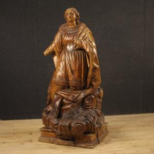 Antique German wooden sculpture depicting Saint on a cloud from 18th century