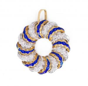 Винтажный кулон из 18-каратного золота с бриллиантами и голубыми эмалями, 70-е годы