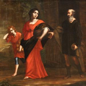 Antico dipinto italiano religioso olio su tela del XVIII secolo