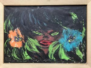 """Novella Parigini (1921-1993) """"Donna con fiori"""""""