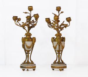 Coppia di candelabri in bronzo e marmo - CA/1191