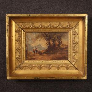 Paisaje italiano pintado con óleo sobre figuras de masonita.