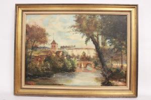 Quadro di paesaggio, scorcio cittadino su fiume, olio su tela, firmato J. Pierre