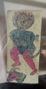 Dipinto su pergamena con scritte cm 17 x 7