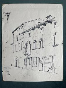 Six of thirteen architectural drawings in Indian ink. Signature: Pino di Pace