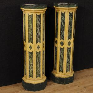 Pair of Italian columns in lacquered wood