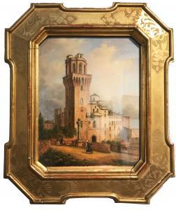 Século XIX, vista com torre e personagens