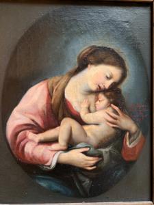Dipinto olio su tela Raffigurante Madonna con Bambino