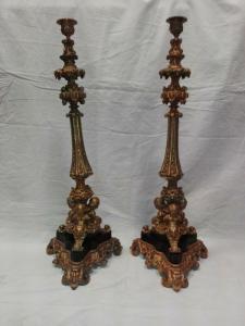 Coppia porta candele in bronzo dorato