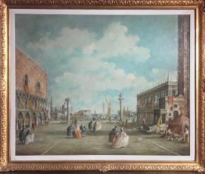 露西亚·庞加(Lucia Ponga)。 1897/1966。威尼斯总督宫与字符。尺寸135厘米x 115厘米
