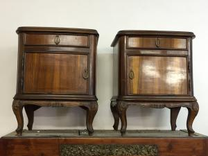 Bedside tables - walnut - 50 years - Decò - Italian