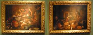 Pair of still lifes in the kitchen with figures of Gian Domenico Valentini 700 'cm 50 x 70