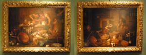Paio di nature morte interno di cucina con figure di Gian Domenico Valentini  del 700' cm 50 x 70