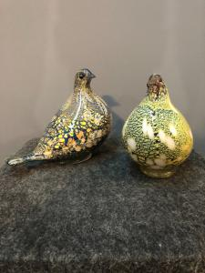 Pair of glass doves.Julius Radi for AVEM.Murano.